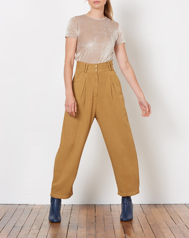 Wright Pleated Trouser in Tan
