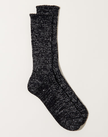 Hemp Cotton Ribbed Socks in Black
