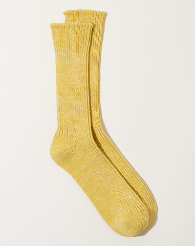 Hemp Cotton Ribbed Socks in Vintage Yellow