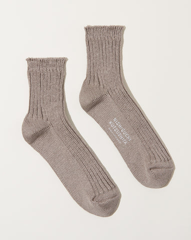 Linen Ribbed Socks in Flax