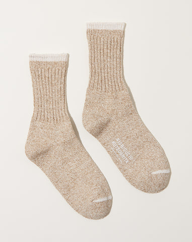 Silk Cotton Socks in Beige