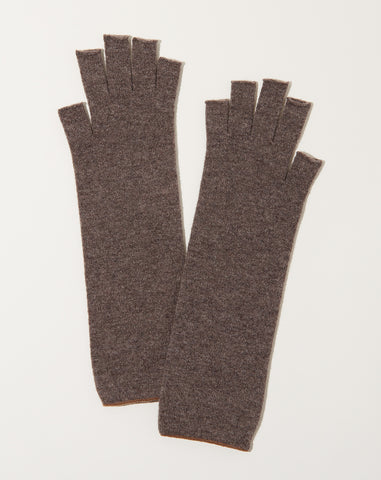 Wool Arm Warmers in Mocha Brown