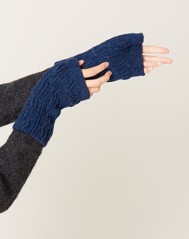 Wool Hand Warmers in Deep Blue