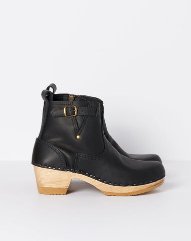 "5"" Leather Buckle Boot on Mid Heel in Black"