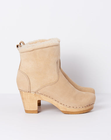 "5"" Pull on Shearling Boot on High Heel in Bone Suede"