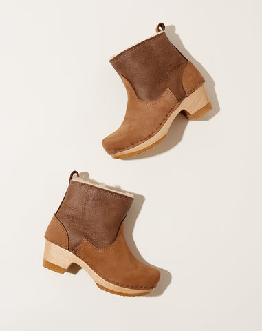 "5"" Pull On Shearling Boot on Mid Heel in Honey Aviator"