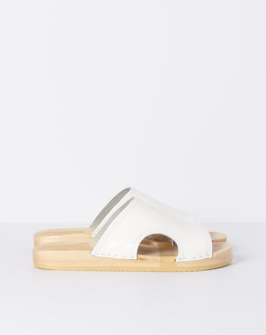 Alexis Cut Out Slide in White Patent
