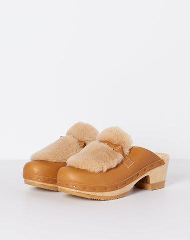 Bianca Fur Slide on Mid Heel in Palomino