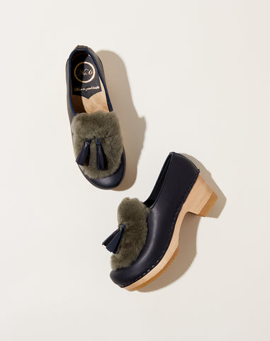 Billie Fur Clog on Mid Heel in Indigo and Storm