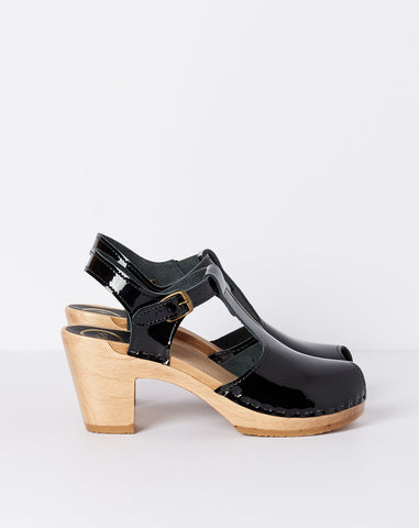 Caitlin T Strap Peep Toe on High Heel in Black Patent
