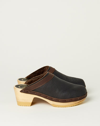 Dakota Shearling Clog on Mid Heel in Espresso
