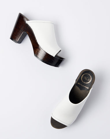 Daria Clog on Platform in White on Coffee Base