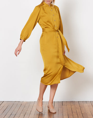 Elena Shirt Dress in Gold