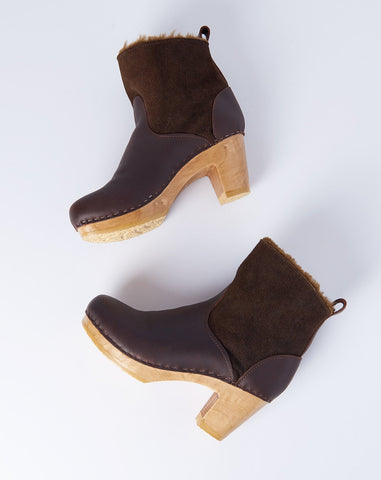 "5"" Pull on Shearling Boot on High Heel in Molasses"