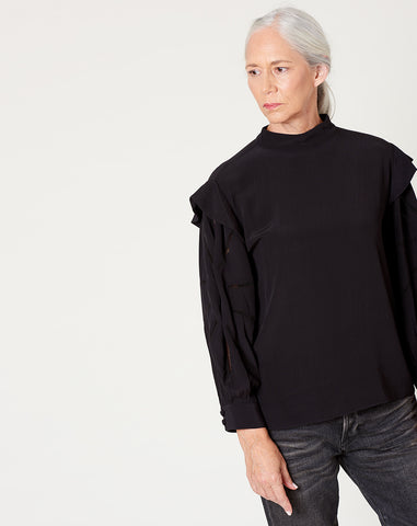Gillian Top in Black Crepe