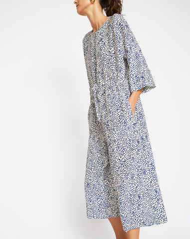 Ida Jumpsuit in White with Blue Dots