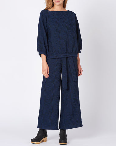Karin Wide Leg Pant in Navy Cable Knit Jacquard