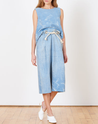 Lenny Paperbag Skirt in Blue Gradient Marble