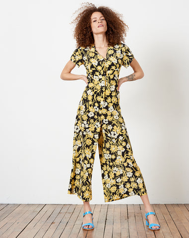 Miriam V Neck Jumpsuit in Black Meadow