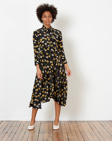 Nessa Tie Dress in Black and Yellow Falling Floral