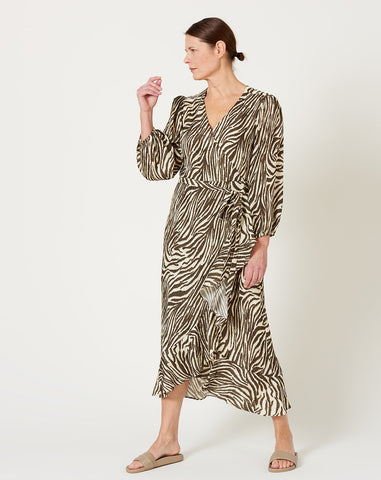Noma Wrap Dress in Coffee and Cream Zebra