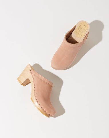 Old School Clog on High Heel in Pink Sand