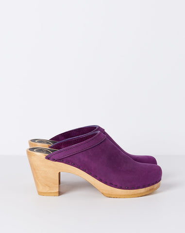 Old School Clog on High Heel in Purple