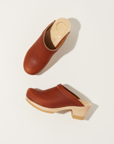 Old School Clog on Mid Heel in Bourbon
