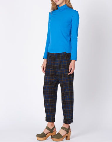 Porter Cropped Trouser in Black and Navy Plaid