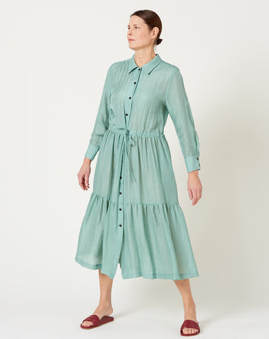 Roman Dress in Sage Iridescent