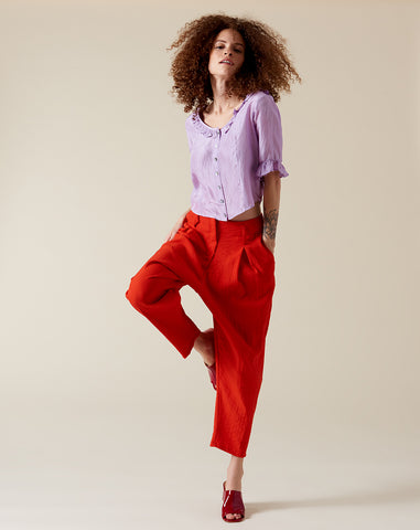 Sorrento Trouser in Cherry Crinkle Crepe