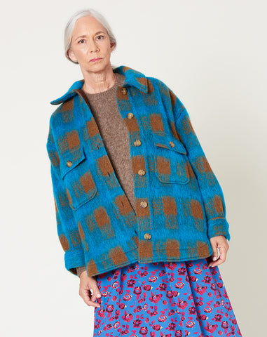 Wilson Jacket in Turquoise Mohair Plaid
