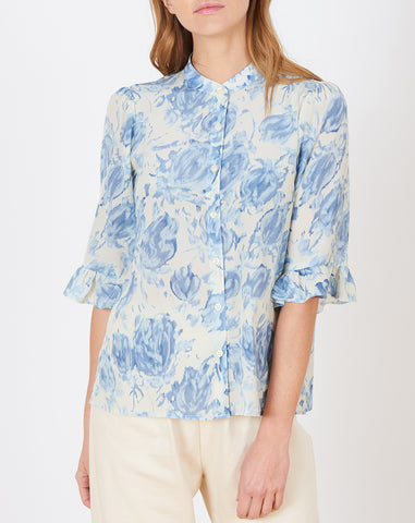 Zoey Blouse in Cream Watercolor