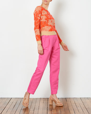 Bea Pleated Suit Pant in Fuschia