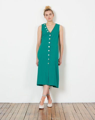 Charlotte Button Down Shift Dress in Peacock