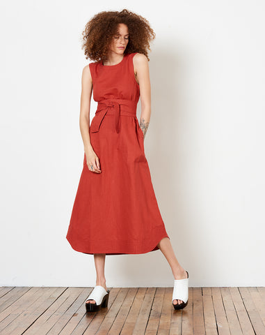St. Clair Midi Dress in Brick