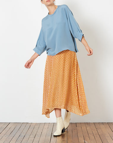 Fond Blouse in Blue Silk Crepe