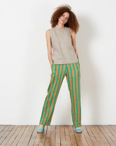 Mott Pant in Green High Line Stripe