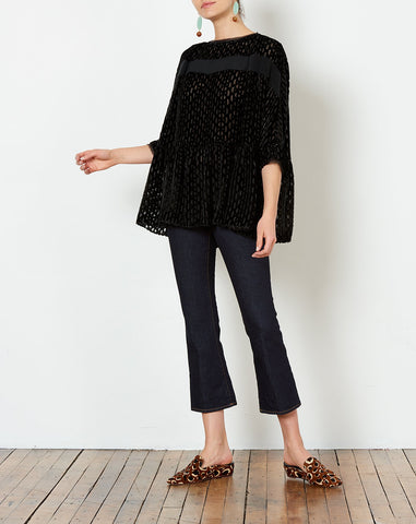 Reunion Top in Black Burnout Lurex