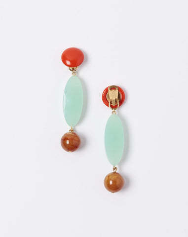 Roundoff Earrings in Mint and Amber Marble