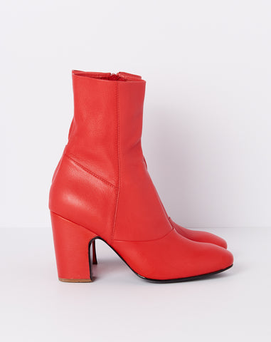 Saco Boot in Red Faux Napa