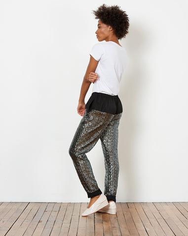 Tremble Pant in Petrol Sequins