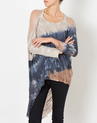 3/4 Sleeve Cocoon in Caves Tie Dye