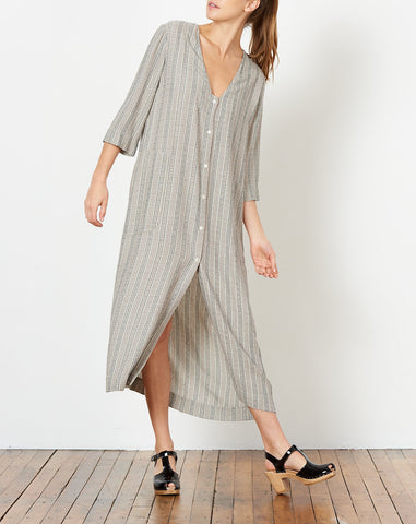 Duster Dress in Cream French Stripe