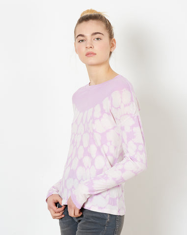 Long Sleeve Crew in Lavender Tie Dye