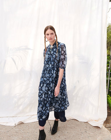 Peasant Tiered Dress in Navy Floral Bandana Chiffon