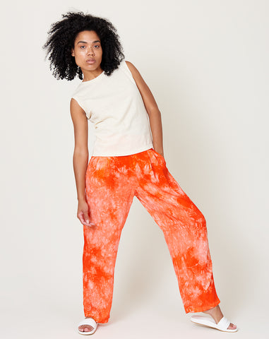 Pleated Pant in Red Tie Dye