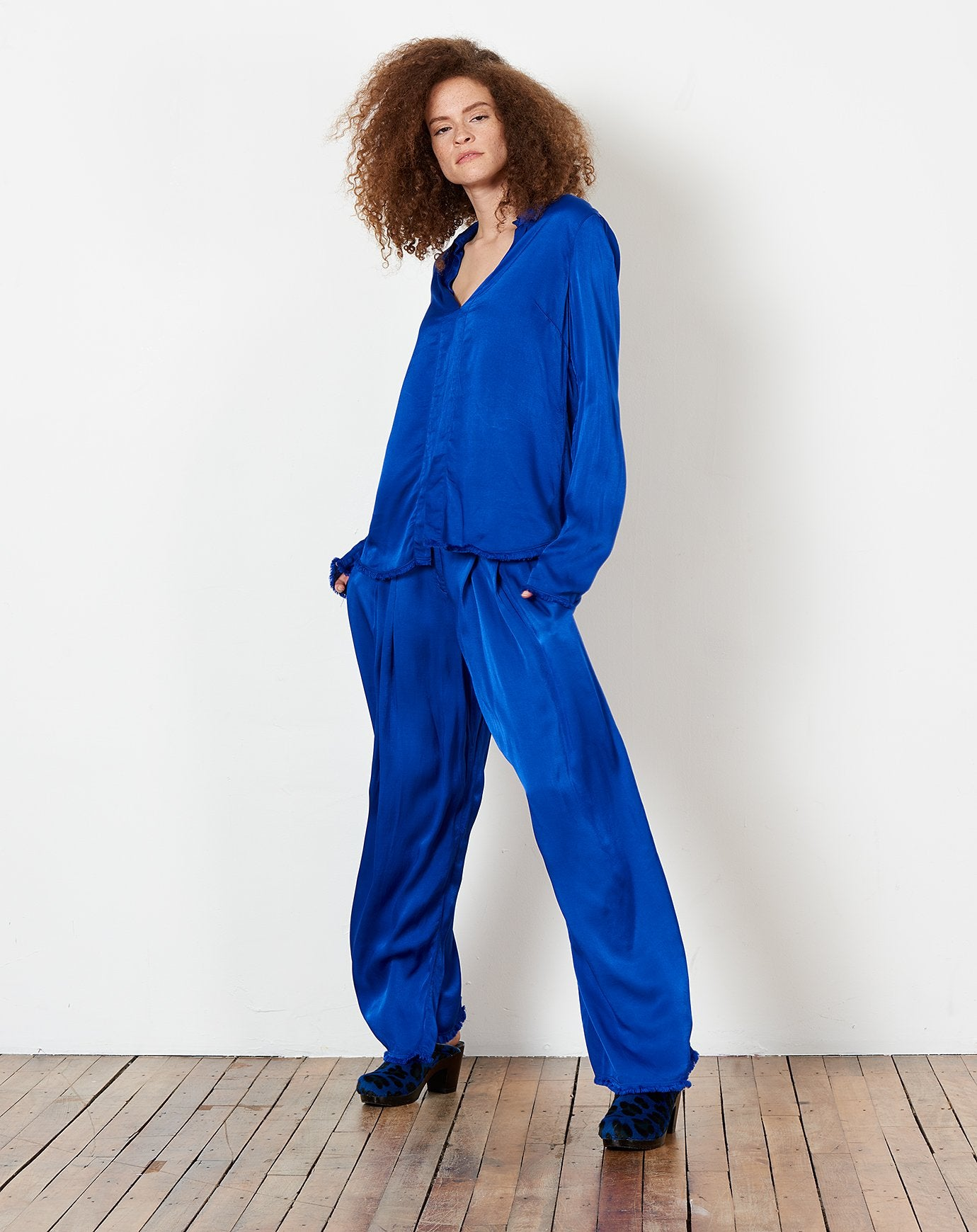 Pleated Trouser in Cobalt