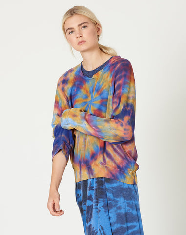 Raglan Blouse in Rainbow Tie Dye
