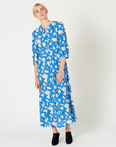 Ruffle Dreamer Dress in French Blue Floral